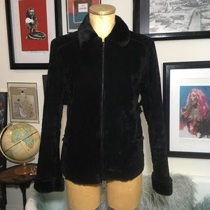 Jackets & Blazers - Che-Bella black crushed velvet feel jacket med